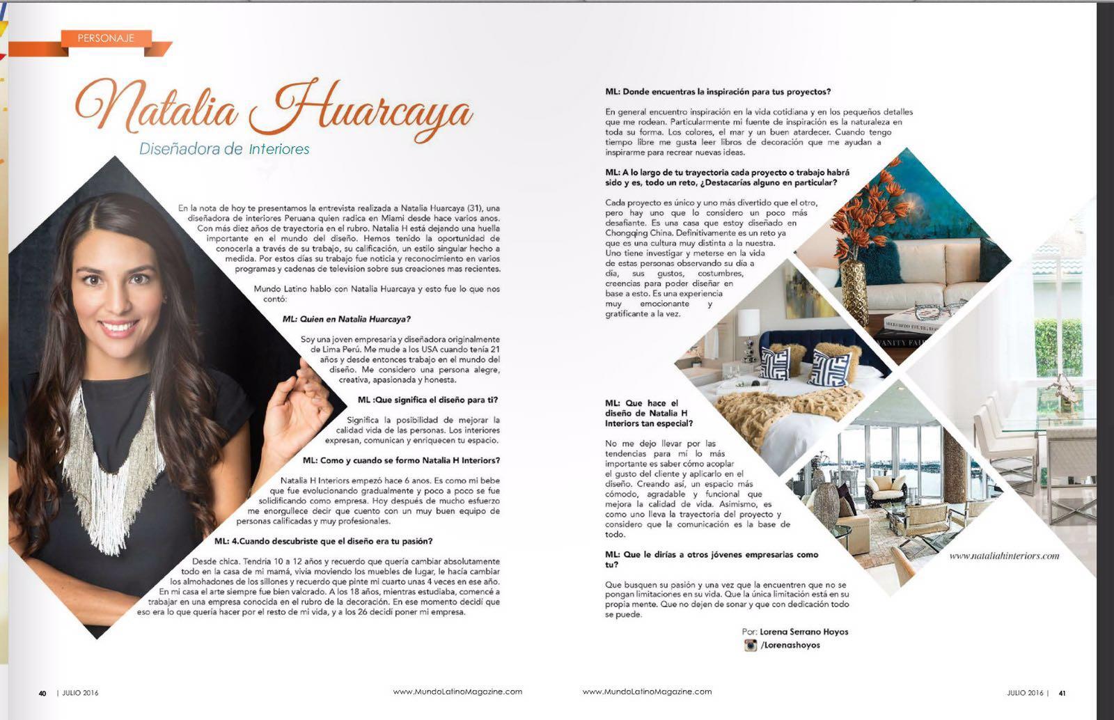 Mundo Latino Magazine Interview Natalia H Interiors # Muebles Huarcaya